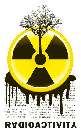 chernobyl: stencil radioactivity sing with tree and text