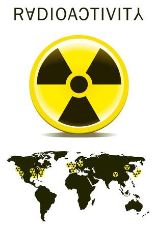 radiactividad: signo de radiactividad con mapa del mundo Vectores