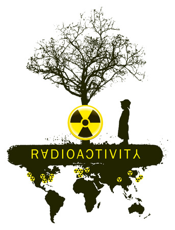 toxic accident: banner of radioactivity tree mutation with child