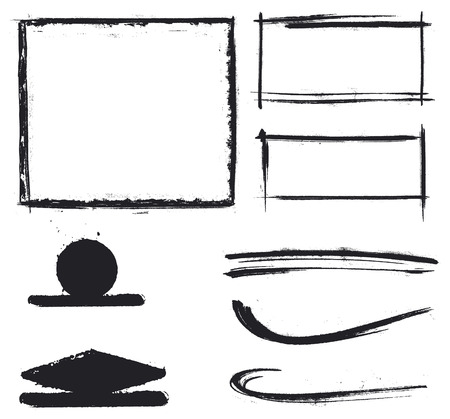 grubby: black grunge inky shapes and frames Illustration