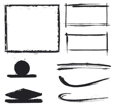 inky: black grunge inky shapes and frames Illustration