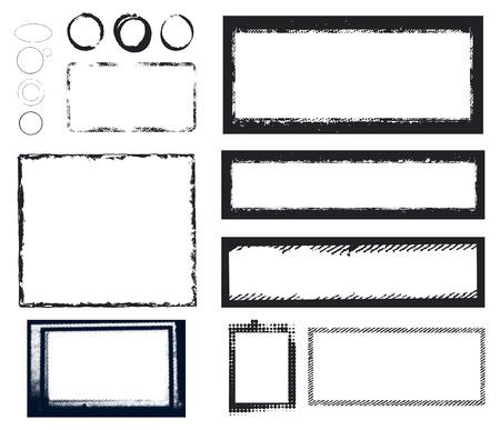 bordes decorativos: marcos grunge manchado de tinta negro