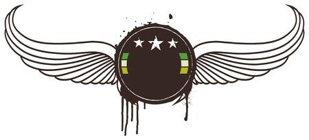 wings grunge: vintage grunge shield with wings