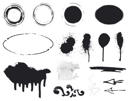 grunge border: black stencil inky set of inkblot