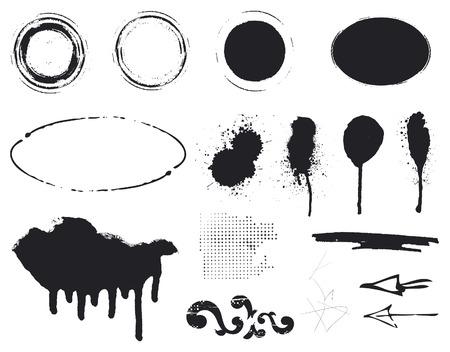 black stencil inky set of inkblot