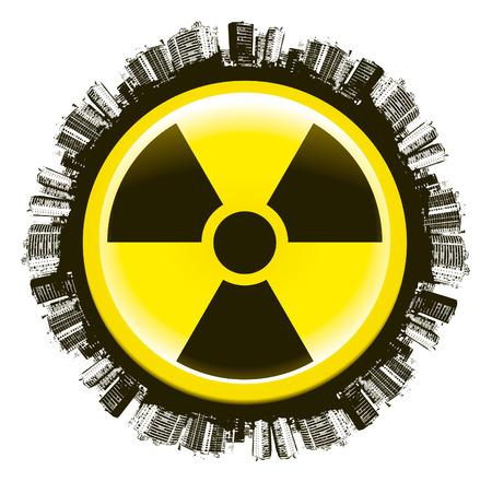 radioactivity: world radioactivity icon circle with cities Illustration