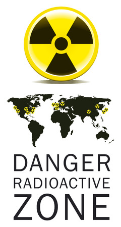 chernobyl: danger radioactive zone draw with world map