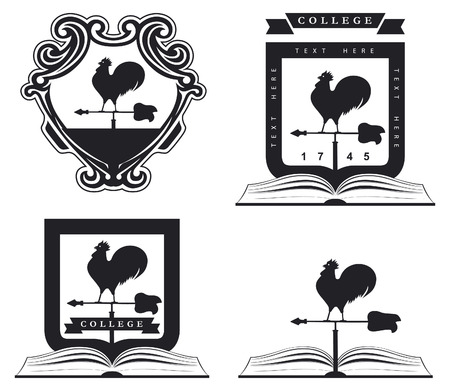 rooster weather vane: vintage college shield with book and rooster Illustration