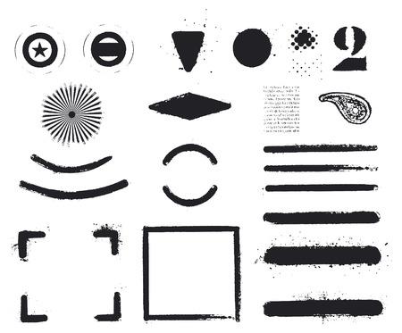 shredded: black inky and grunge set of frames