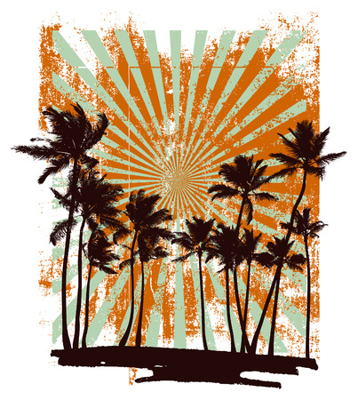 beach vacation: grunge summer backdrop with many palms
