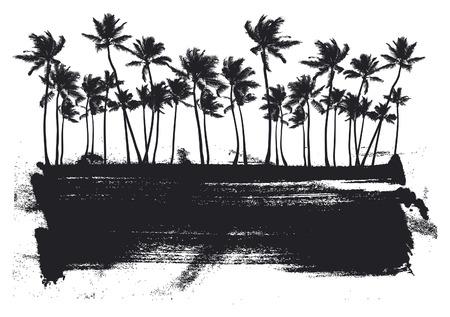 palmier: banni�re pochoir d'�t� avec les paumes de beaut�