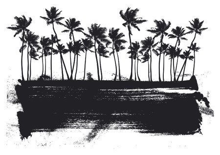 tree illustration: stencil summer banner with beauty palms