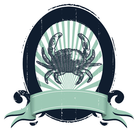 blue crab: vintage stencil marine shield with crab