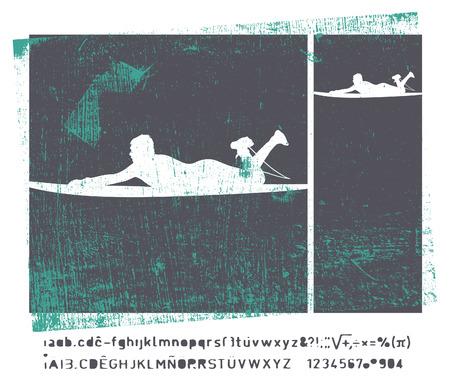 tabla de surf: frame surf retro vendimia