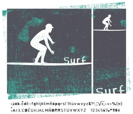 tabla de surf: grunge marco de surf retro con surfista Vectores