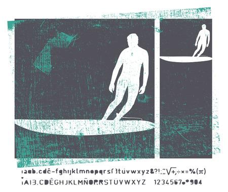 tabla de surf: grunge marco de surf retro con espacio de copia
