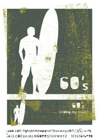 tabla de surf: sesenta frame surf plantilla de la vendimia con jinete y longboard Vectores