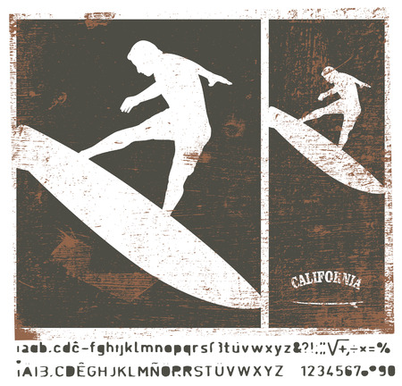 tabla de surf: Marco de la resaca de la plantilla de la vendimia con el salto surfer