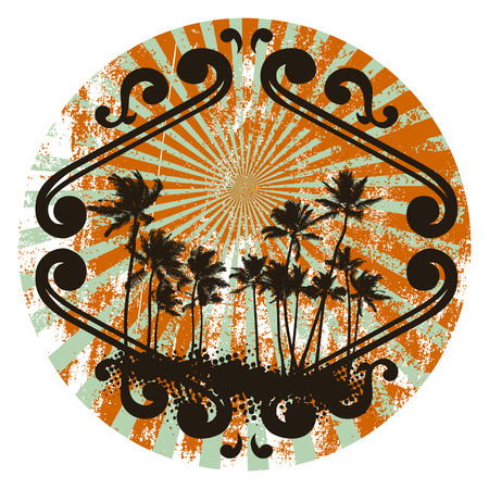 cancun: grunge summer shield with many palms and tribal