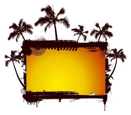 cancun: stencil sunset summer frame background with lot of palms