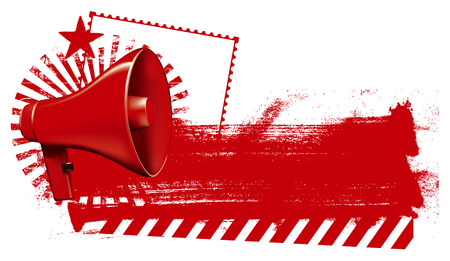 amplify: megaphone with inky red banner