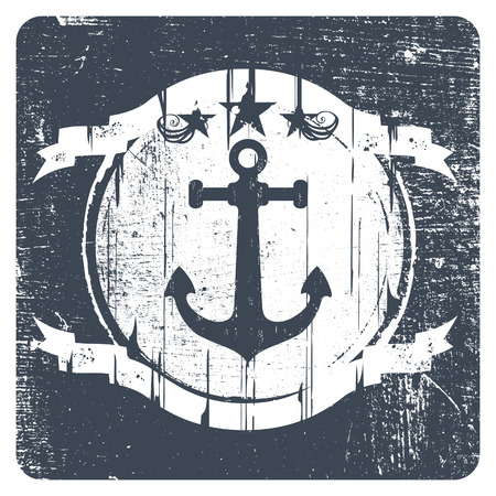 ancre marine: mill�sime bouclier marine grunge avec ancre