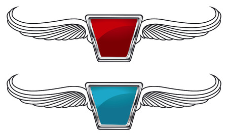 racing wings: racing emblems in two colors with wings Illustration