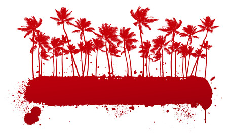 california coast: red stencil summer banner with many palms Illustration