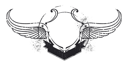 inky: inky retro stencil shield with copy space and wings