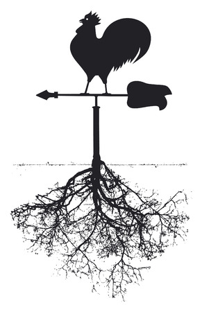 tree of knowledge: vintage vane with cock and roots