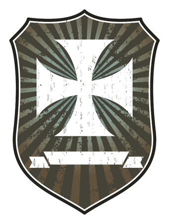 templar cross with shield and banner