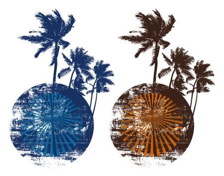 cancun: two vintage grunge summer circles with palms