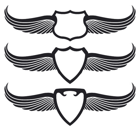 badge vector: three vintage black shields with wings Illustration