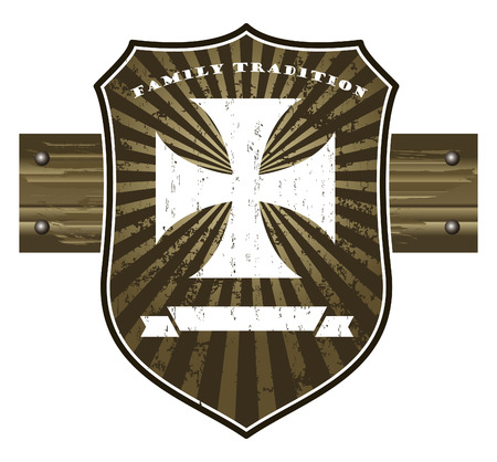 templar: templar cross with grunge vintage shield and wood banner Illustration