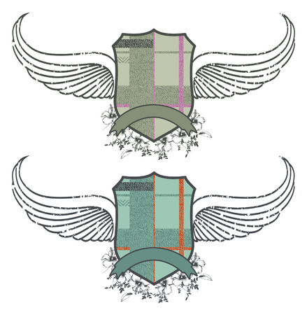 hibiscus flower: retro shields with wings and hibiscus