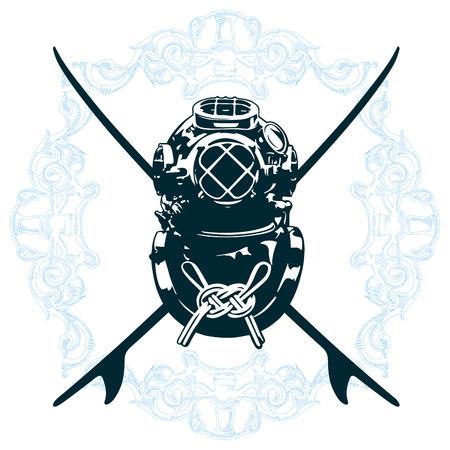 recreational pursuit: surf emblem with diving suit Illustration