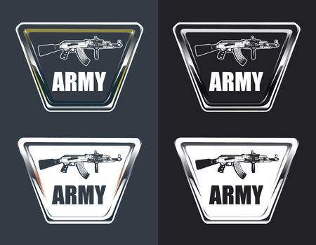 machine gun: vintage army glossy shields with machine gun and copy space