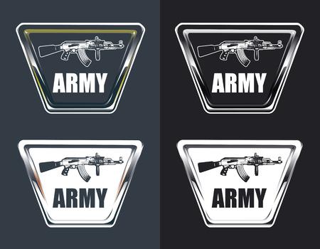 copy machine: vintage army glossy shields with machine gun and copy space