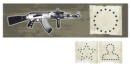 copy machine: machine gun with silhouettes shots and copy space
