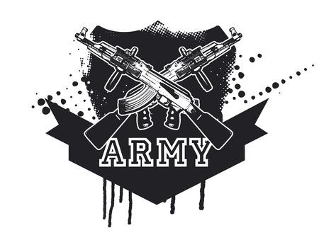 copy machine: army shield with machine gun with copy space