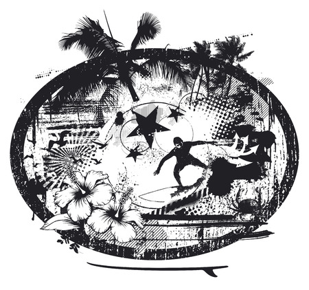tabla de surf: escena de la plantilla de verano con elementos de verano y surfista