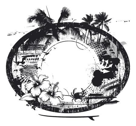 tabla de surf: escena de surf y el verano, con copia espacio