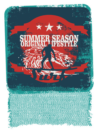 tabla de surf: cartel de surf retro con surfista y de la plantilla de estilo Vectores