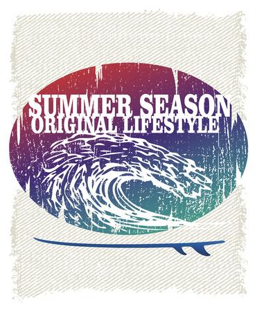 tabla de surf: Cartel del grunge de surf retro con la onda de tuber�as Vectores