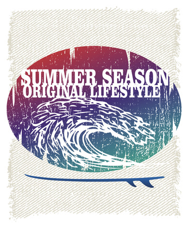 tidal wave: retro grunge surf poster with pipeline wave