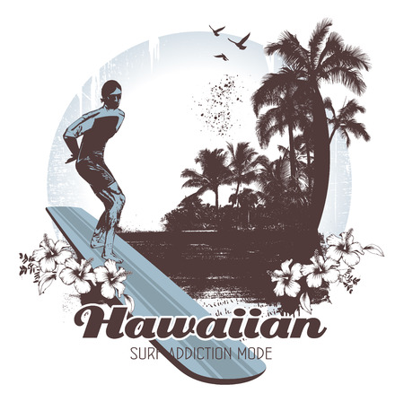 surfing: vintage hawaiian surf scene with rider