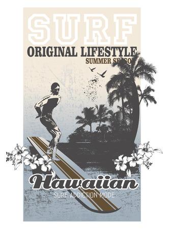 tabla de surf: vintage surf background with rider and beach