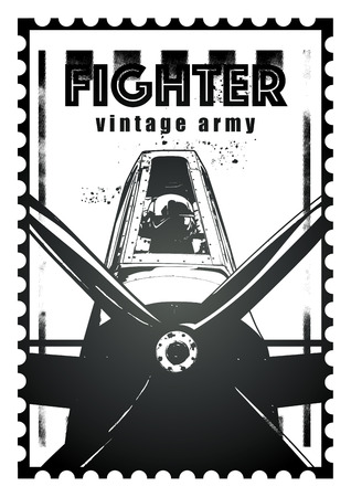 aviator: seal of combat fighter plane with aviator Illustration