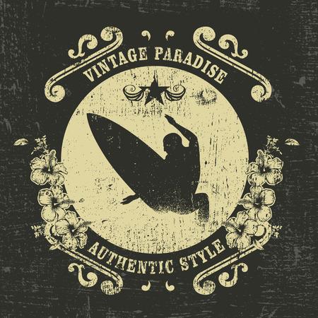 tabla de surf: escudo resaca del vintage con el hibisco