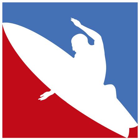 tabla de surf: marco de la cultura del surf americano en azul y rojo